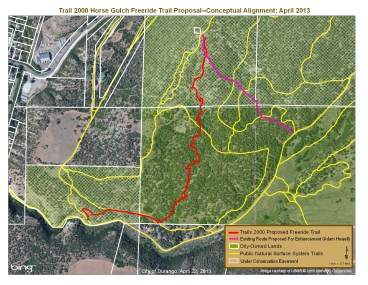 The trail alignment in red coming down off of Raiders Ridge is dubbed The Scratch, which received City funding for a crew leader, signage and a griphoist.