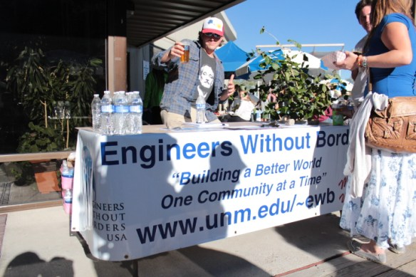 Ben Katco of UNM's Engineers Without Borders was getting the word out about the organization's goal of installing water infrastructure while trying to raise funds for materials that will be used. Katco and two other alumni from Fort Lewis College were found hanging out with Katco doing good deeds.
