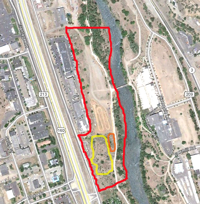 Outlined in red is the perimeter of the City's Cundiff Park by the Animas River. Conceptualized by Alpine Bike Parks is a slopestyle course/dirt jump area in the yellow circle, and a skills area in the orange circle.