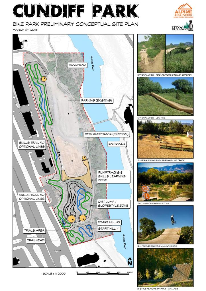 This conceptual design for a bike park at Cundiff Park was created for the City of Durango by Alpine Bike Parks, a full-service design/build contractor.
