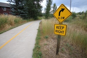 Signage is posted at strategic points along the Yampa River Core Trail to help prevent conflicts between commuters.