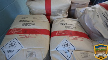 These bags of Solvay brand sodium fluoride sit on a pallet at the City of Durango's Water Treatment Plant in January, 2017.