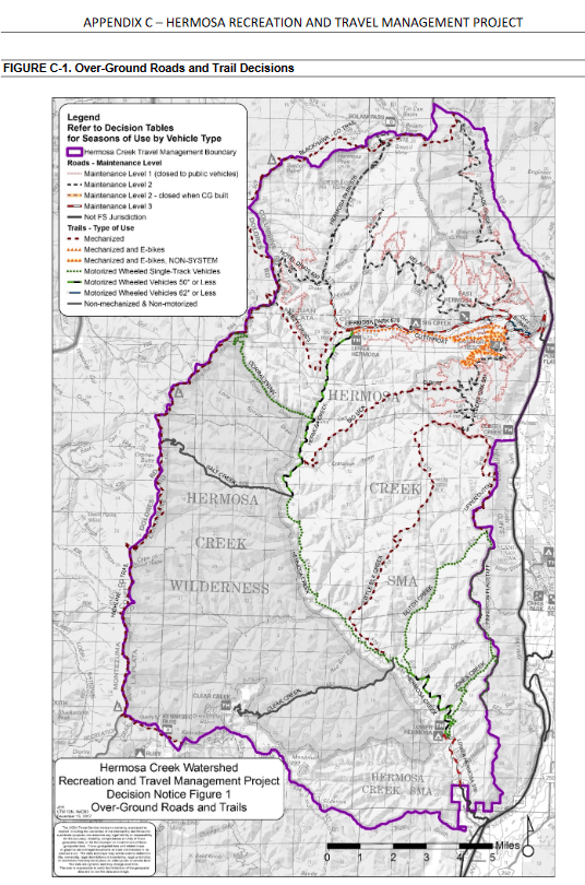 Hermosa Creek Trail decision map