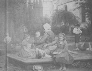 """Et af de kendteste Horsens-billeder, Wenzel Tornøes """"Fra Børnenes Legeplads paa den gamle Kirkegaard i Horsens"""", malet i 1878. Kirken bagved er Klosterkirken, som dengang var kalket hvid. Foto: Lars Rønbøg"""