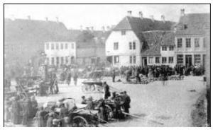 Torvedag i Horsens 1850. Billedet udlånt fra Horsens Byarkiv.