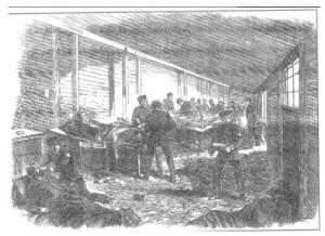 Optælling af lig på Dybbøl den 19. april 1864 (Træstik i London News). Tidligere bragt i Persillekræmmeren nr. 11, 2003