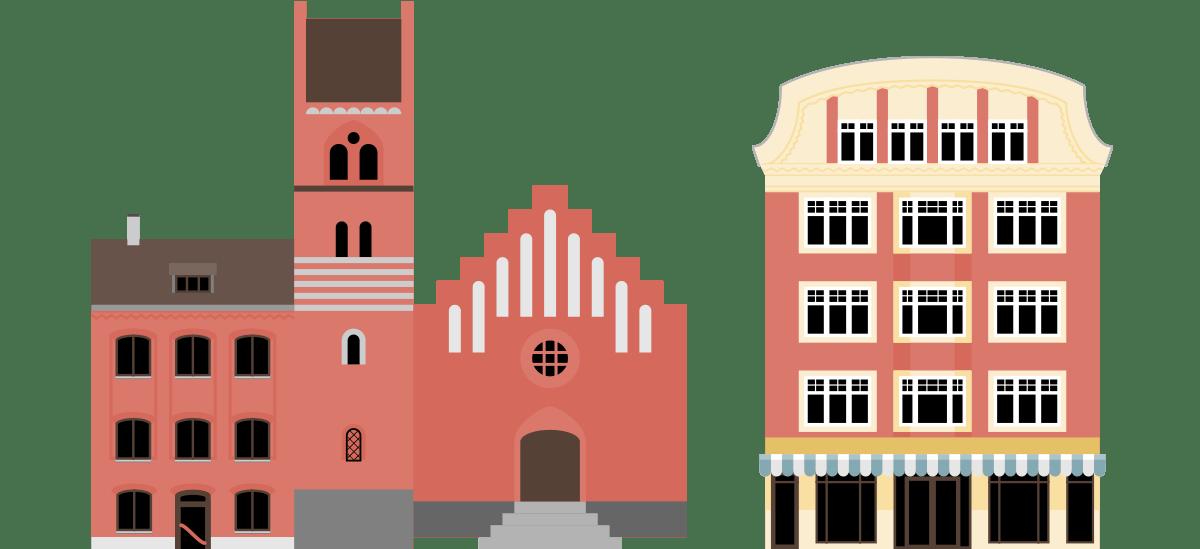 Illustration af Skt. Josef Kirke og Matas