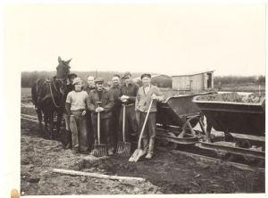 Billede fra anlæggelsen af dyrskuepladsen ved Hattingvej.
