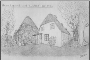 Krumhvervet mod nordøst før 1941. Tegning af Thomas Jørgen Iversen.