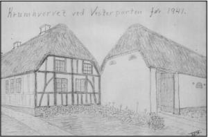 Krumhvervet ved vesterporten før 1941. Tegning af Thomas Jørgen Iversen.