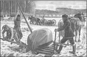 Opsamling af sten fra marken skete med primitive midler. Stenene anvendtes til stengærder og husbygning. Akvarel af Rasmus Christiansen (1863-1940).