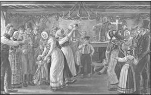 Høstgilde. Når høsten først var i hus, var der anledning til at feste med spisning og dans. Akvarel af Rasmus Christiansen (1863-1940)