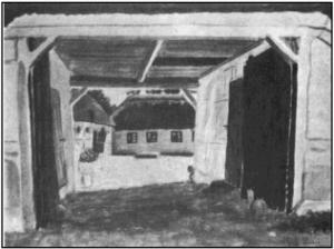 Indkørsel til den nævnte tvillingegård. Akvarel af H. E. Jensen.