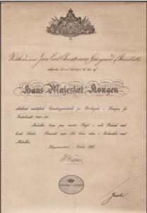 Bevis for rokkedrejer J. C. C. Østergaards deltagelse i krigen 1848-50.