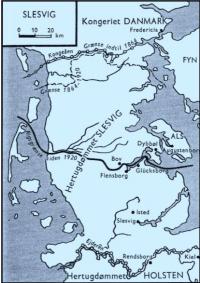 Kort over hertugdømmet Slesvig. Før 1864 fulgte nordgrænsen: Kongeåen og Koldingå. Sydgrænsen fulgte: Frederiksstad, Rendsborg og Ejderen. Efter 1864 var Ribe, Ærø og nogle sogne syd for Kolding stadig en del af Danmark.