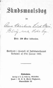 Anna Skov´s skudsmålsbog, side 1.