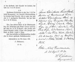 Side 6 og 7 i skudsmålsbogen med sognepræstens påtegninger.