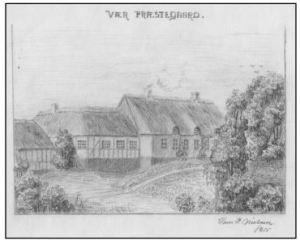 Vær præstegård, 1915. Tegning af Hans P. Nielsen.