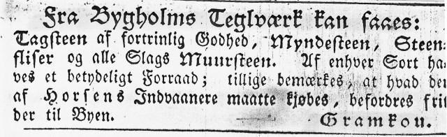 Bygholm Teglværk Avisannonce 1835