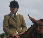 Chilean arriero dressed for the hunt in England