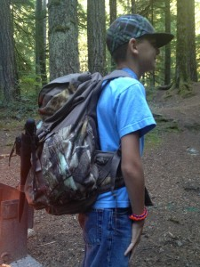 My son Elijah modeling his Bug Out Bag.