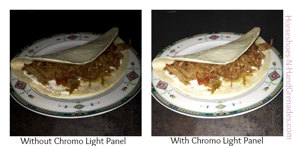 Yes, these are pictures of a Taco, but you can see the huge difference with and without the light.