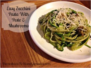Easy Zucchini Pasta With Pesto and Mushrooms