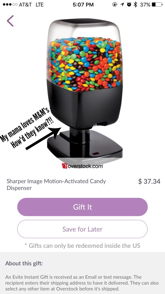 Evite Candy Dispenser