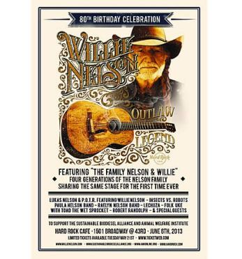 Join Willie Nelson for Concert to Benefit Animal Welfare Institute and Sustainable Biodiesel Alliance