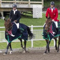 Phillip Dutton (left) riding Ben and William Coleman III riding Obos O'Reilly celebrate their respective victories in the CIC3* and CCI3* divisions