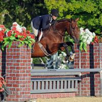 ©ESI Photography. Therese Peck and MTM Passport jump to a win in the $1,500 Platinum Performance Hunter Prix