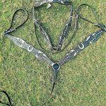 Western Horse Tack 3pc Set Horseshoe Conchos Bridle Breastcollar Black Leather Horse Size Horse Tack Saddles