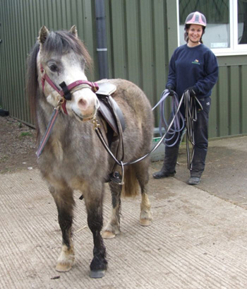 James in March 2012 learning 'long-reining' with Horseworld groom Caitlin Macaulay