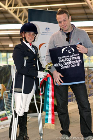 Joann Formosa with Michael Hartung (APC) at the 2011 Para-Equestrian National Championships.