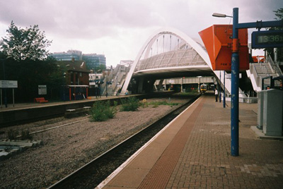 Wembley Stadium station with White Horse Bridge built across it