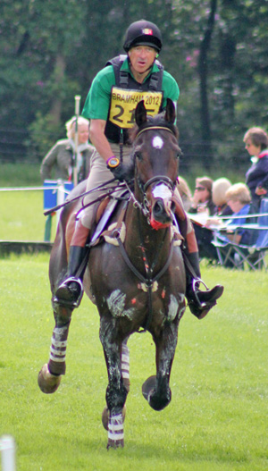 Carl Bouckaert and Cyrano Z approach the eighth fence on the cross-country at Bramham.