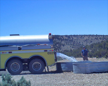 Bureau of Land Management personnel fill water troughs at McCullough Spring. There are as many as 35-45 horses using the area as well as pronghorn, elk and deer as confirmed by the game camera, which clocked the temperature at 102 degrees in this photo on June 30. This is the only water for miles.