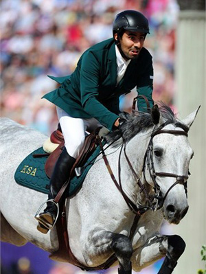 Abdullah Waleed Sharbatly of Saudi Arabia picks up four jumping penalties on Davos to secure bronze for Saudi Arabia in the Team Jumping competition at Greenwich Park.