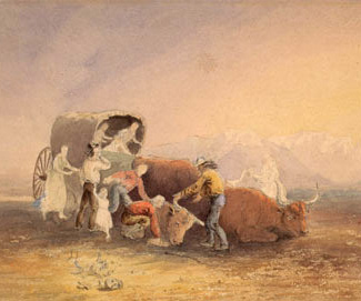 "Image from Diana L. Ahmad's Great Plains Quarterly article: ""Wagon in the Desert,"" courtesy of the University of California-Berkeley, Bancroft Library."