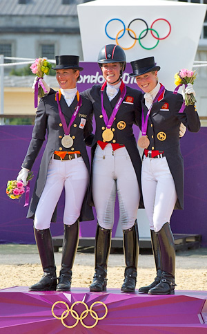 Individual Olympic dressage medalists, from left, Adelinde Cornelisson (silver), Charlotte Dujardin (gold), and Laura Bechtolsheimer (bronze).