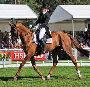 Sinead Halpin (USA) and Manoir de Carneville scored the only sub-40 dressage mark at Burghley to take the overnight lead.