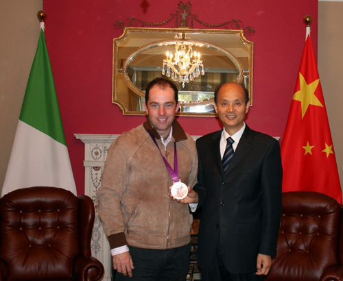 Cian O'Connor with Chinese ambassador Luo Linquan.