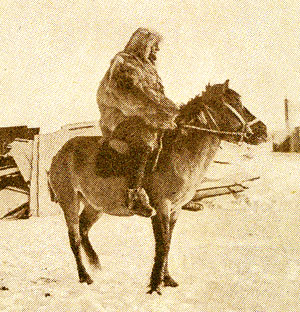 German Long Rider Alfred Kling exercises his happy horse, Moritz, in Antarctica.