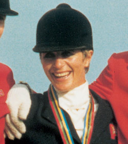 Ginny Elliot after winning the European Eventing Championships in 1987.
