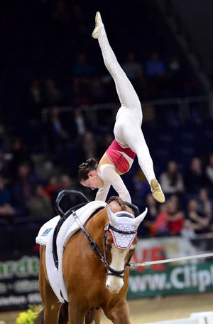 Italy's Anna Cavallaro on Harley, lunged by Nelson Vidoni, wins FEI World Cup Vaulting Final in Braunschweig.