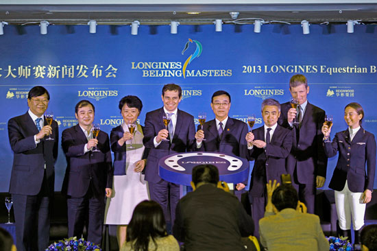 Delegates at the launch of the Longine Beijing Masters in China on Monday.