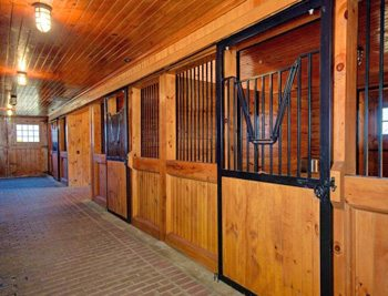 Inside the 14-stable stone barn.