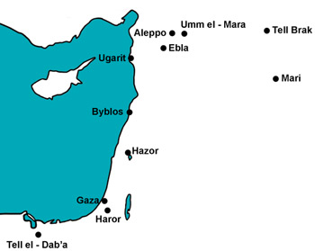 Map showing Tel Haror and other sites mentioned in the text.