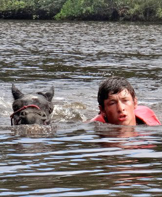 One of the students swam the shetland pony to safety.