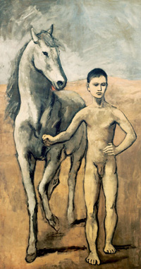 Pablo Picasso, Boy Leading a Horse, 1906, Museum of Modern Art, New York. Picasso's Rose period masterpiece, recalls the painting of El Greco.